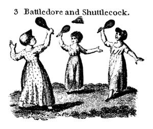 Battledore and shuttlecock - A game of battledore and shuttlecock
