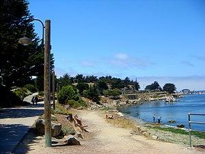 Beach walkway along Monterey Bay coastline.