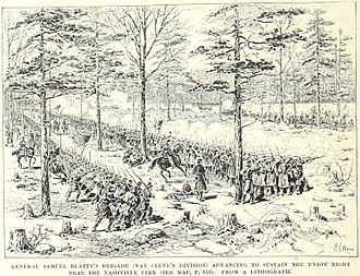 Battle of Stones River - Troops of Beatty's brigade, Van Cleve's division march to reinforce the Union right
