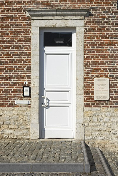 Entrance door of town hall in Beauvechain