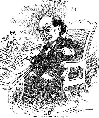 Cartoon of Secretary of State Bryan reading war news in 1914 Berryman cartoon about William Jennings Bryan reading war dispatches.jpg
