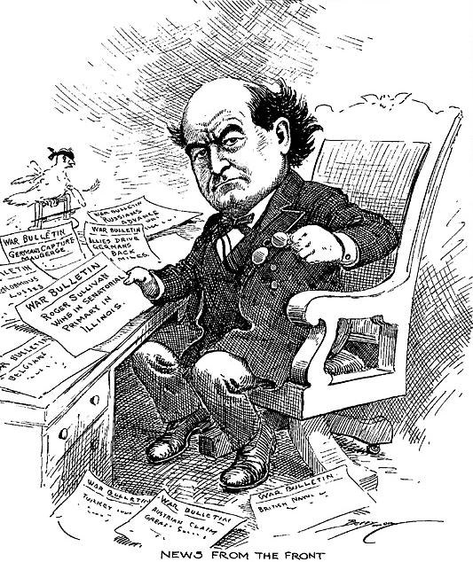 Berryman cartoon about William Jennings Bryan reading war dispatches