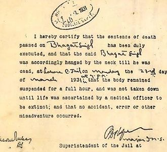 Bhagat Singh - Death certificate of Bhagat Singh
