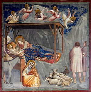 Christmas Oratorio - Giotto di Bondone: Angels at the nativity (c. 1300)