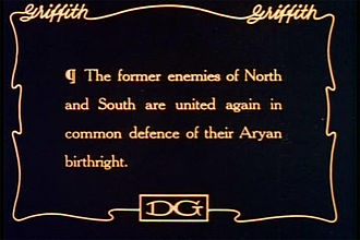 "Aryan - An intertitle from the silent film blockbuster The Birth of a Nation (1915). ""Aryan birthright"" is here ""white birthright"", the ""defense"" of which unites ""whites"" in the Northern and Southern U.S. against ""coloreds"". In another film of the same year, The Aryan, William S. Hart's ""Aryan"" identity is defined in distinction from other peoples."