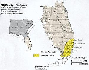 Biscayne Aquifer - A map of the aquifer.