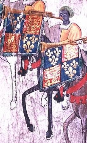 John Blanke - Extract from the Westminster Tournament Roll almost certainly showing John Blanke, the only figure wearing a brown turban latticed with yellow.