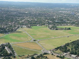 Blackheath, London - An aerial view of the heath looking south with All Saints Church in the centre rear of the heath