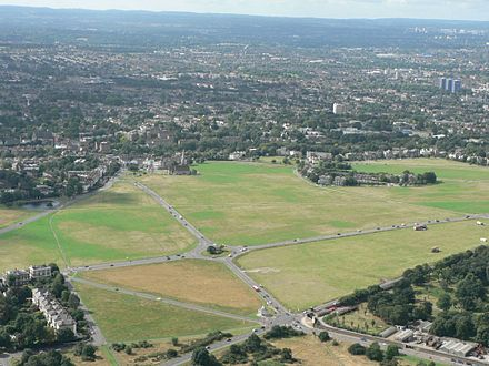 An aerial view of the heath looking south with All Saints' Church in the centre rear of the heath Blackheath.jpg
