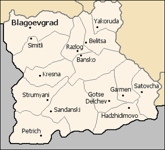 Municipalities of Bulgaria - A map of the municipalities in Blagoevgrad Province