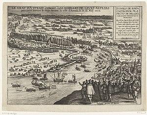 Abraham Verhoeven - Íñigo de Borja repulses a Dutch force attempting a landing near Antwerp, 17 May 1605, published by Abraham Verhoeven