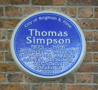 Thomas Simpson (architect) - A blue plaque commemorating Simpson was erected in Hove in 2015.