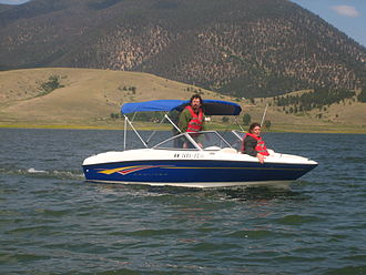 Enchanted Circle Scenic Byway - Image: Boating on Eagle Nest Lake, NM Picture 1974