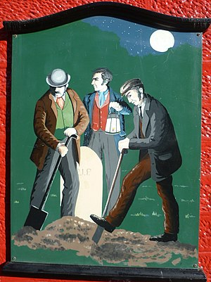 Body snatching - Body snatchers at work. A painting on the wall of a public house in Penicuik, Scotland