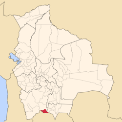 Location of the Modesto Omiste Province or Villazón Municipality within Bolivia