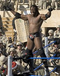 Booker performing for the Coalition troops at Camp Victory in Baghdad, Iraq