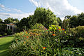 Border and folly temple Capel Manor College Gardens Enfield London England.jpg