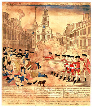 29th (Worcestershire) Regiment of Foot - The Boston Massacre in 1770, an engraving by Paul Revere