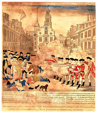 Timeline of the American Revolution - The Boston Massacre, an engraving by patriot Paul Revere.