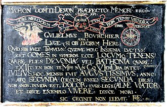 William Bourchier, 3rd Earl of Bath - Cryptic tablet on base of monument to William Bourchier, 3rd Earl of Bath (died 1623)