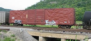 Boxcar - A Helm Financial Corporation a double-door boxcar passes through Prairie du Chien, Wisconsin.