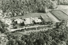 Aerial view of a school campus