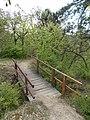 Bridge and bench, Tűzkő Hill Park Forest trail, 2017 Budaörs.jpg