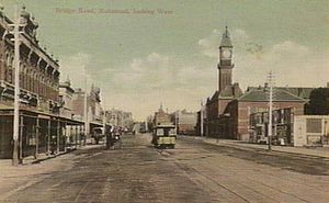 Richmond, Victoria - Bridge Road in 1908 looking West towards Melbourne