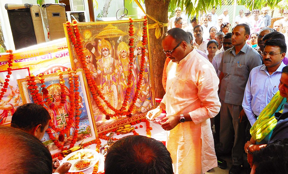 Brijesh Pathak, Minister of Law %26 Justice and Additional Energy Resources in Uttar Pradesh, inaugurating the bada mangal festivities at UPNEDA office in Vibhuti Khand (May 2017)