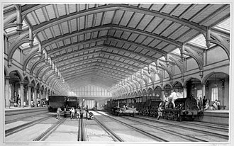 Great Western Railway - The interior of Brunel's train-shed at Temple Meads, the first Bristol terminus of the GWR, from an engraving by J. C. Bourne.
