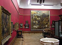 Interior of Bristol Art Gallery, Bristol, England. The large picture 'Noah's Ark'was painted in 1700 by the Dutch artist Jan Griffier.