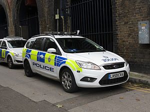British Transport Police - a British transport police Ford Focus Estate. Ford Focus Estates form a large part of the BTP fleet.