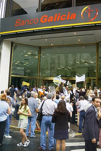 Corralito - Depositors protesting frozen accounts for fear they might lose value, or worse. February 2002.