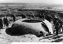 Photograph of a destroyed cupola at Maubeuge Fortress