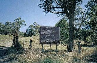 Bundjalung National Park - Dual-language entrance sign at Bundjalung National Park, in English and Bundjalung languages