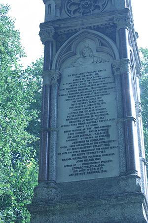 Arthur O'Leary - Father O'Leary's name on the Burdett Coutts Memorial, Old St Pancras Churchyard, London (detail)
