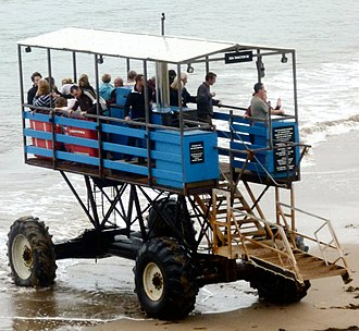 Sea tractor - The Burgh Island sea tractor carrying passengers, September 2011