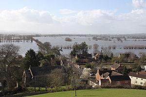 Burrowbridge - Burrowbridge, Somerset taken from Burrow Mump during flooding in Feb 2014