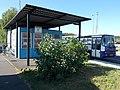 Bus terminal, dispatch building, Veszprém railway station, 2016 Hungary.jpg