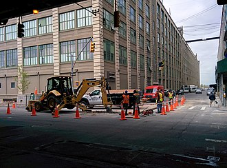 Industry City - Stealth Communications constructing new underground Gigabit fiber system at Bush Terminal (2016)
