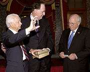 Byrd was sworn in for record ninth term as Senator on January 4, 2007 accompanied with fellow Democratic Senator from West Virginia Jay Rockefeller