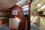 A view of the Aft Stateroom of a C&C 37/40 looking forward through the galley.