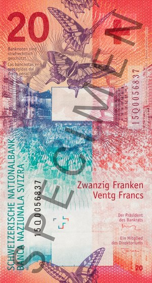 Locarno Festival - The open-air screening of the Locarno Festival on the Piazza Grande is featured on the Swiss twenty-franc banknote since 2017.