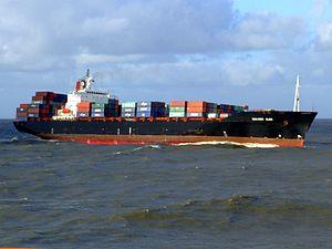 CMA CGM Elbe p4 approaching Port of Rotterdam, Holland 21-Jan-2007.jpg