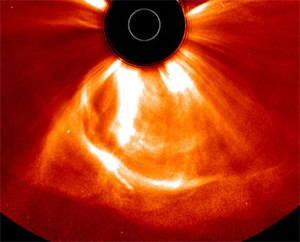 Solar storm of 2012 - The coronal mass ejection, as photographed by STEREO.