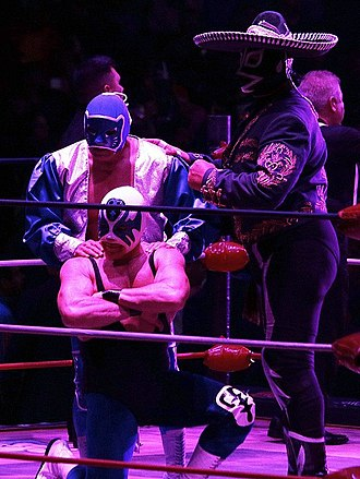 Blue Panther - Blue Panther (left) during his 40th Anniversary celebration with Atlantis (kneeling) and Rayo de Jalisco Jr. (right).