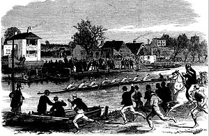 Cambridge University Boat Club - Image: CUBC coach on horseback engraving 1866