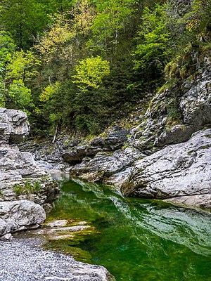 Location on the Cañón de Añísclo trail, Bellós River and streamed boulders. Sobrarbe, Huesca, Aragon, Spain
