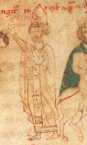 Calixt II - Illustration from the Liber ad honorem Augusti by Petrus de Ebulo, 1196