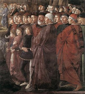 Vocation of the Apostles - Detail of the characters on the right, with John Argyropoulos in the center.